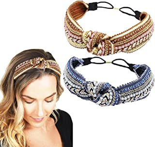 Braided Elastic Headbands Boho Style Knotted Weave Headband Vintage Pearl Sequins Hair Bands for Women Girls Yoga Workout ...