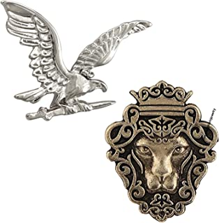 Mahi Classic Combo of Eagle and Lion Face Lapel Pin/Brooch for Men CO1104989M