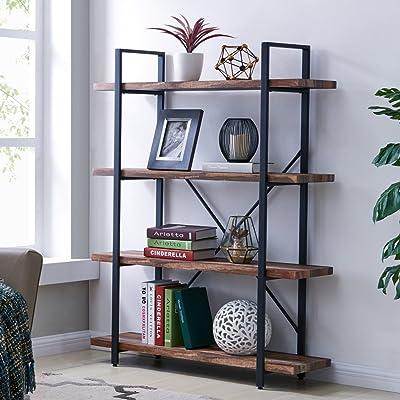 Homissue 4-Tier Industrial Style Bookshelf, Woo...