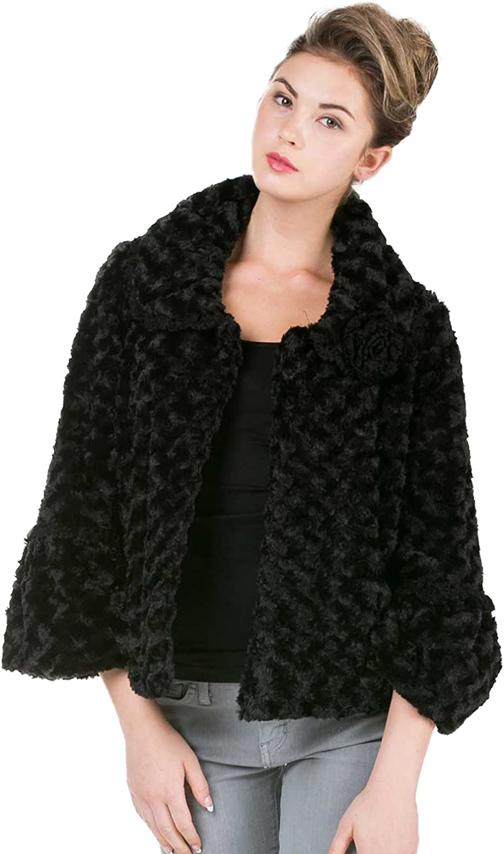 [Shop Lev] Melody Women's Faux Fur pinktte Jacket with Handmade Corsage