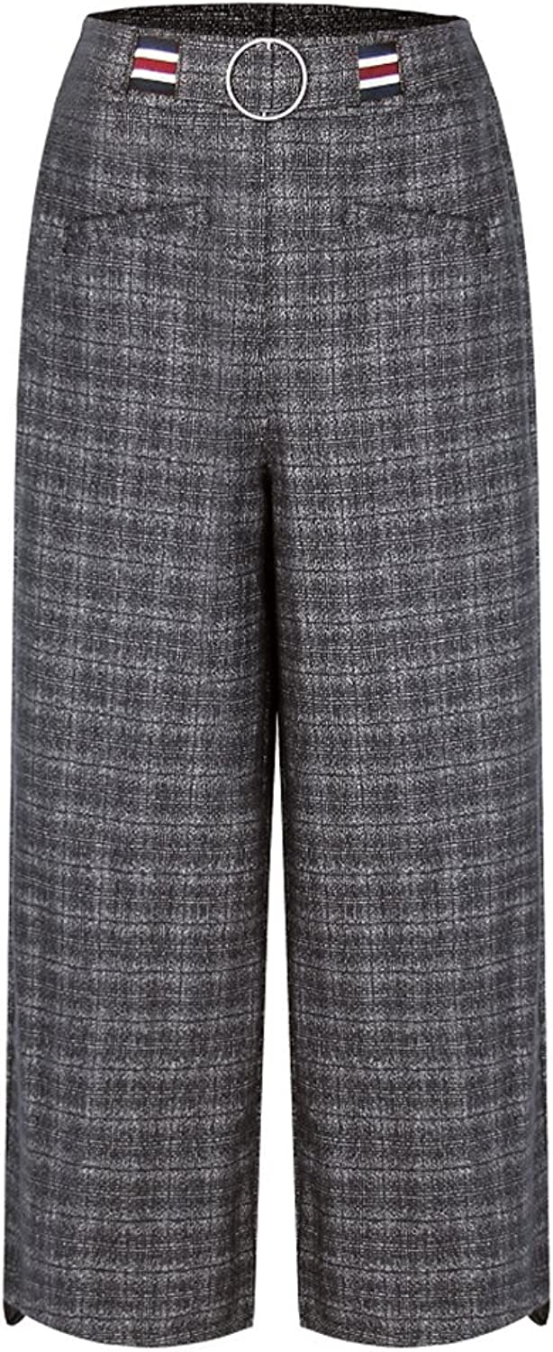Ecupper Women's Casual High Waisted Plaid Pants Straight Leg Tartan Trousers