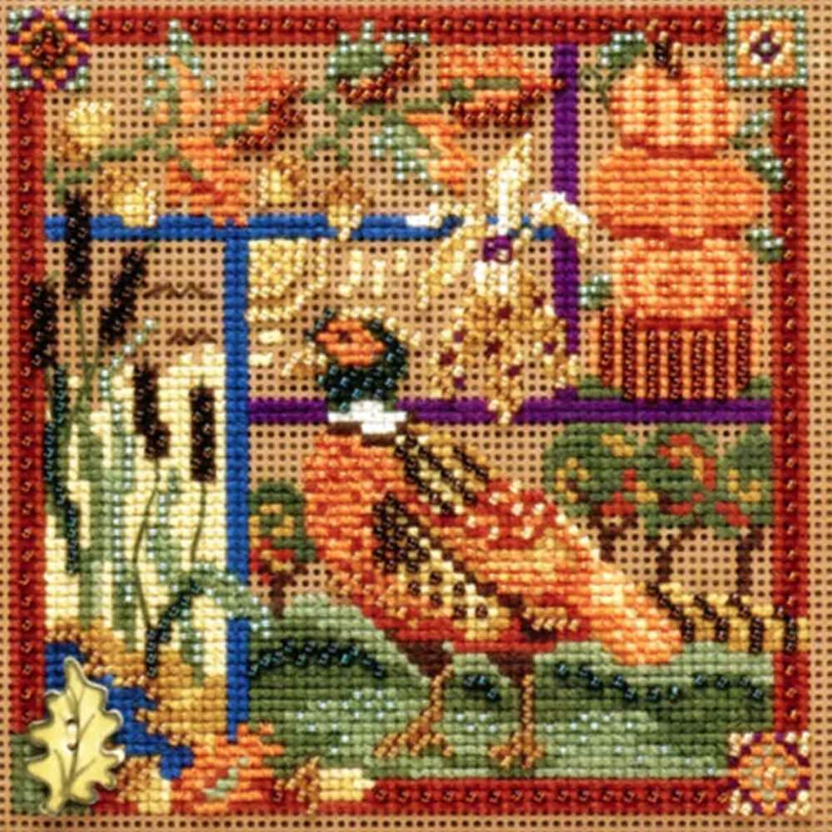 Pheasant Sampler Beaded Counted Cross Stitch Kit Mill Hill Buttons & Beads 2009 Autumn MH149203