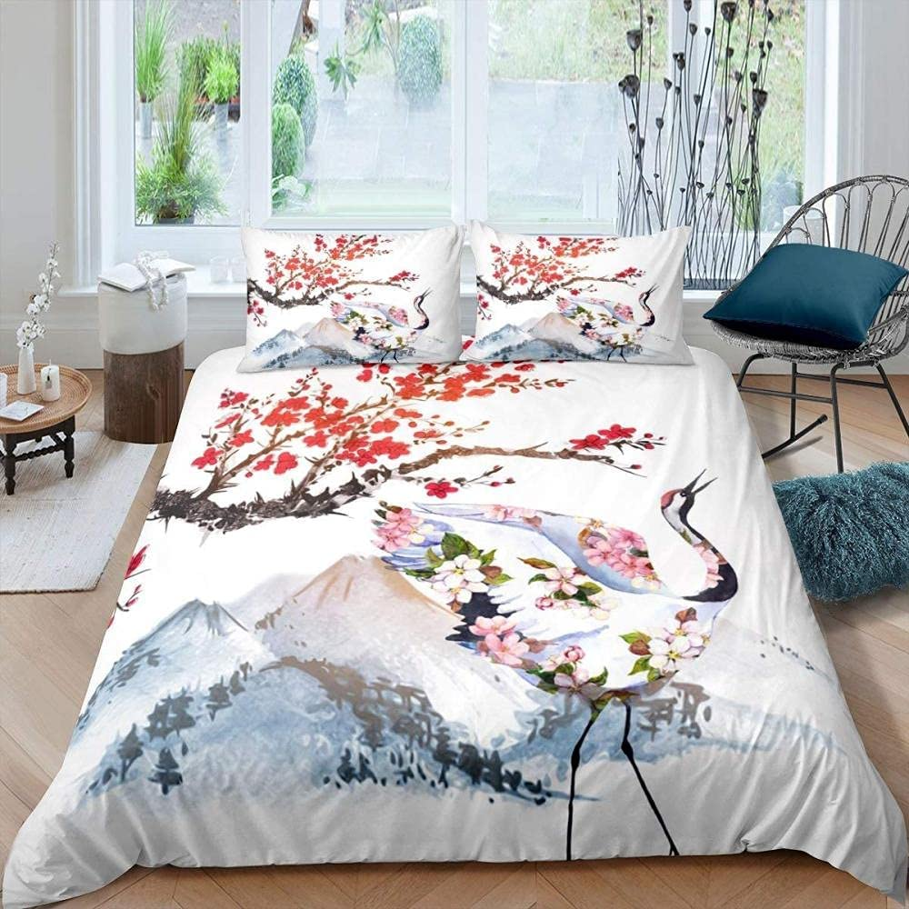 Japanese-Style Cherry Outlet sale Max 65% OFF feature Blossoms Duvet Cover Comfor Print 3D Crane