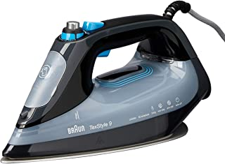Braun Household TexStyle 9 Steam Iron | SI9148EBK | Braun's Fastest Steam Iron | 360° Glideability Over Any Fabric | Black
