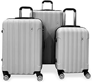 Todo Ultra Light Luggage Set 3Pcs Hard Shell Combination Locks (Silver)