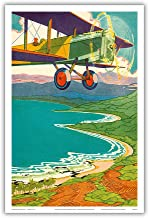 Pacifica Island Art Bi-Plane Over The Hawaii Coastline - Color Book Plate from Kimo by Alice Cooper Bailey Illustrated by Lucille Webster Holling c.1928 - Hawaiian Master Art Print - 12 x 18in