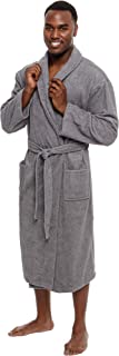 Men's Lightweight Cotton Terry Robe - Luxury Bathrobe w/Shawl Collar