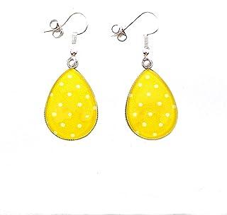 Boucles d'oreilles, cabochon, gouttes * jaune citron * pois blancs, boucles pendantes, fantaisie, femme, tendance, idée ca...