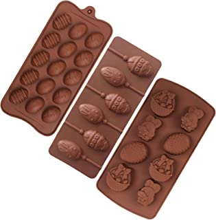 ULVBABI Silicone Molds for Candy, Cake,Lollipop, Chocolate and Ice Cube, Easter Egg and Bunny Mold, Includes Egg, Rabbit, Lily and Duck (3 Pack)