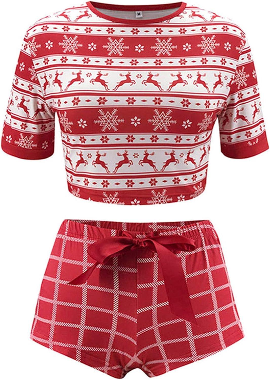 Huyghdfb Women Christmas Pajamas Elk Short Sleeve Crop Tops ...