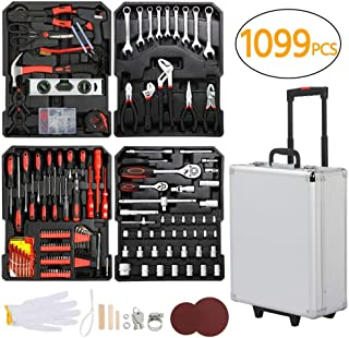 Topeakmart Tool Kit Tool Set 1099-Piece Aluminum Portable Case Mechanics Kit Box Organizer Toolbox Trolley Silver
