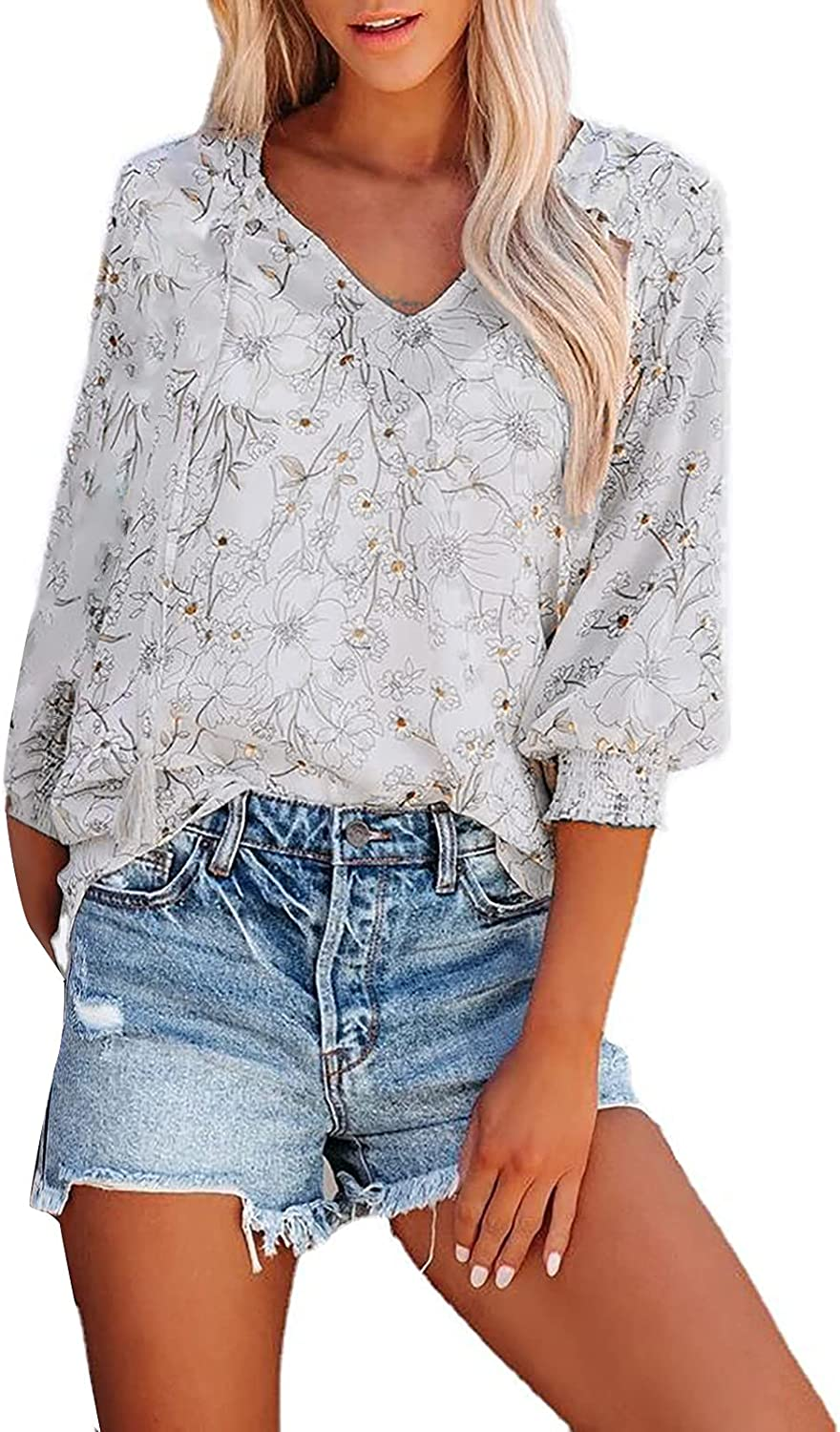 Women's 3 4 Lantern Sleeve Shirts Print Flower Our shop OFFers the best service Sle Elegant Max 44% OFF Long