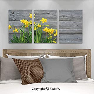 Canvas Wall Art HD Bouquet of Daffodils on Wood Planks Gardening Rustic Country Life Theme Modern Canvas Prints Painting Artworks Oil Painting Decorative,15.7