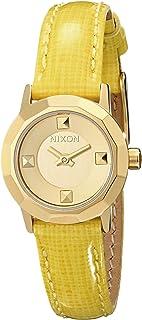 Nixon Mini B Reloj de acero inoxidable con correa de piel auténtica para mujer