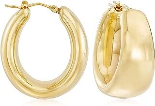 Andiamo 14kt Yellow Gold Puffed Oval Hoop Earrings