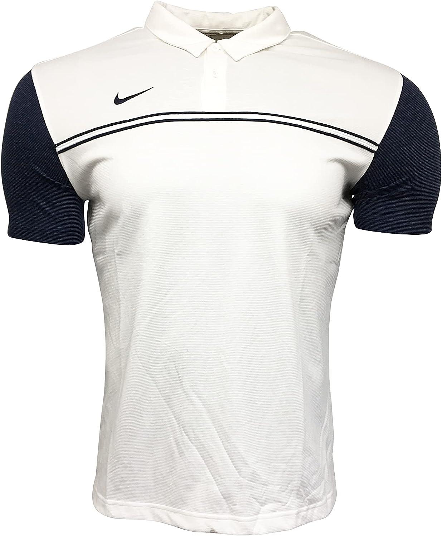Nike Men's Polo Shirt 100% Polyester Sleeve Block Polo Shirt White (Large)