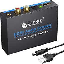 eSynic 1080P HDMI Audio Extractor HDMI to HDMI + Optical TOSLINK SPDIF + Analog RCA L/R +3.5mm Audio Jack Stereo Audio Video Splitter Converter with Power ON/OFF Switch Support Full HD1080p 3D