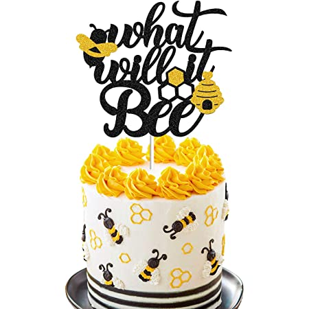 SHAMI SHE or HE What Will It Bee Cake Topper BOY OR GIRL Baby Shower Cake Topper Gender Reveal Party Decorations He Or She Party Glitter Decorations