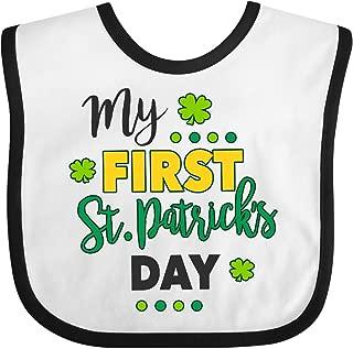 Inktastic My First St Patrick's Day with Shamrocks Baby Bib White/Black