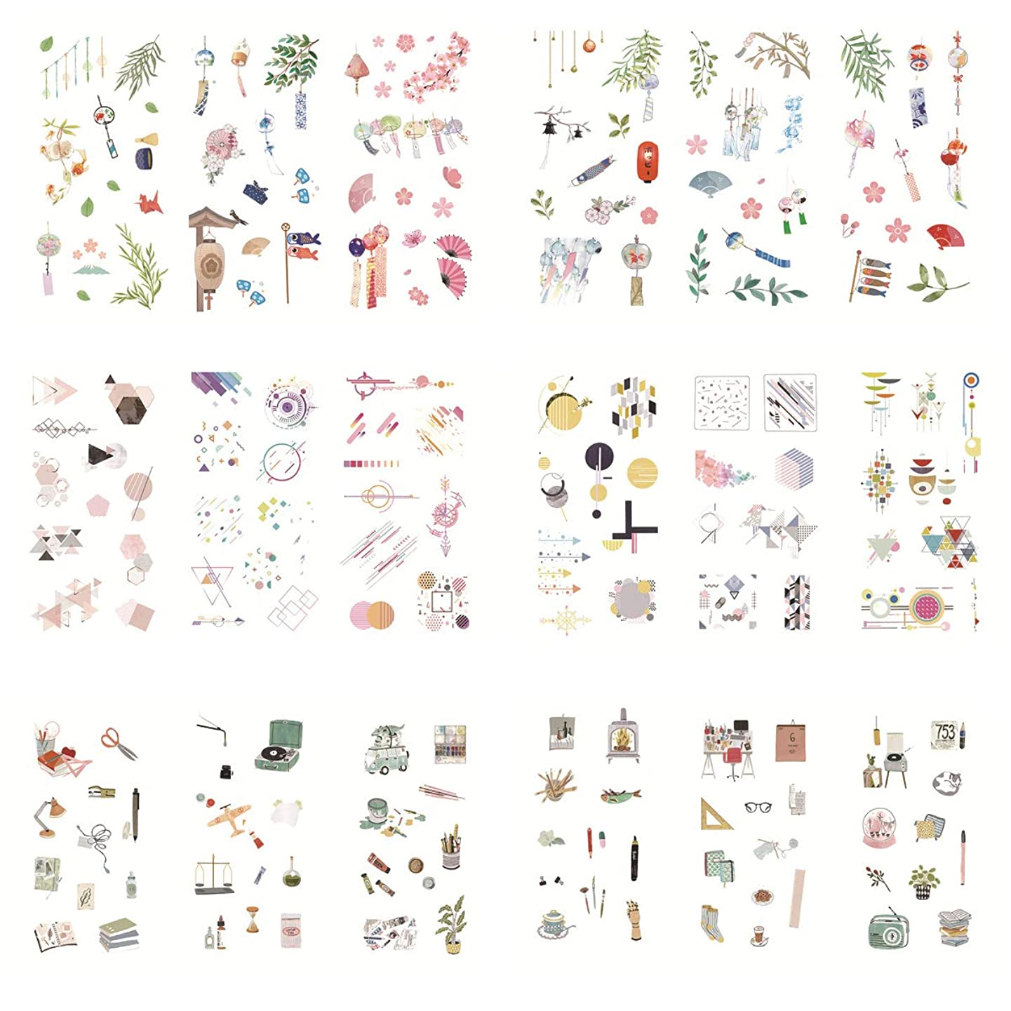 Japanese Style Lantern Geometric Shape Stuff Office Supplies Self-Adhesive Washi Paper Stationery Sticker Set Decoration Label for Scrapbooking DIY Diary Album Notebook Journal Agenda (H)