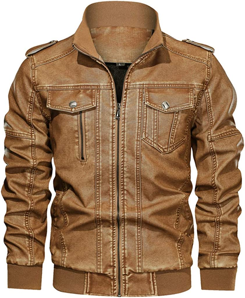 Big and Tall Denim Jacket Men, NRUTUP Plus Size Zipper Winter Jacket Canvas Water Resistant Stand Collar Casual Jacket