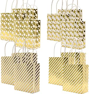 UNIQOOO 12Pcs Premium Small Gold Chrome Metallic Gift Treat Bags Bulk, Extra Small 6.75 x 5.75 x 2.75 inches,100% Recyclable Paper Ribbon Handle, for Party, Holiday,Christmas Holiday Gift Bags Idea