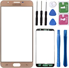 Replacement Repair Front Outer Top Glass Lens Cover Screen for Samsung Galaxy J7 Prime ON7 Mobile Phone Curved Surface Parts (NO LCD and Touch Digitizer) (Gold)