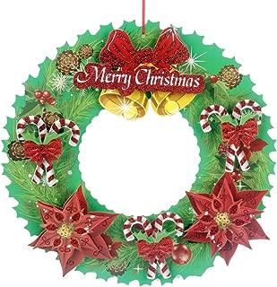 BESTOYARD Christmas Wreath Santa Holiday Wreath for Festival Tree Door Wall Decoration Ornaments Door Bell (Green)