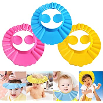Lystaii Soft Adjustable Visor Hat Kids Wash Hair Shield with Ear Protection Safe Shampoo Shower Bath Accessories for Toddler Baby Kids Children 4pcs Baby Shower Cap Bathing Cap