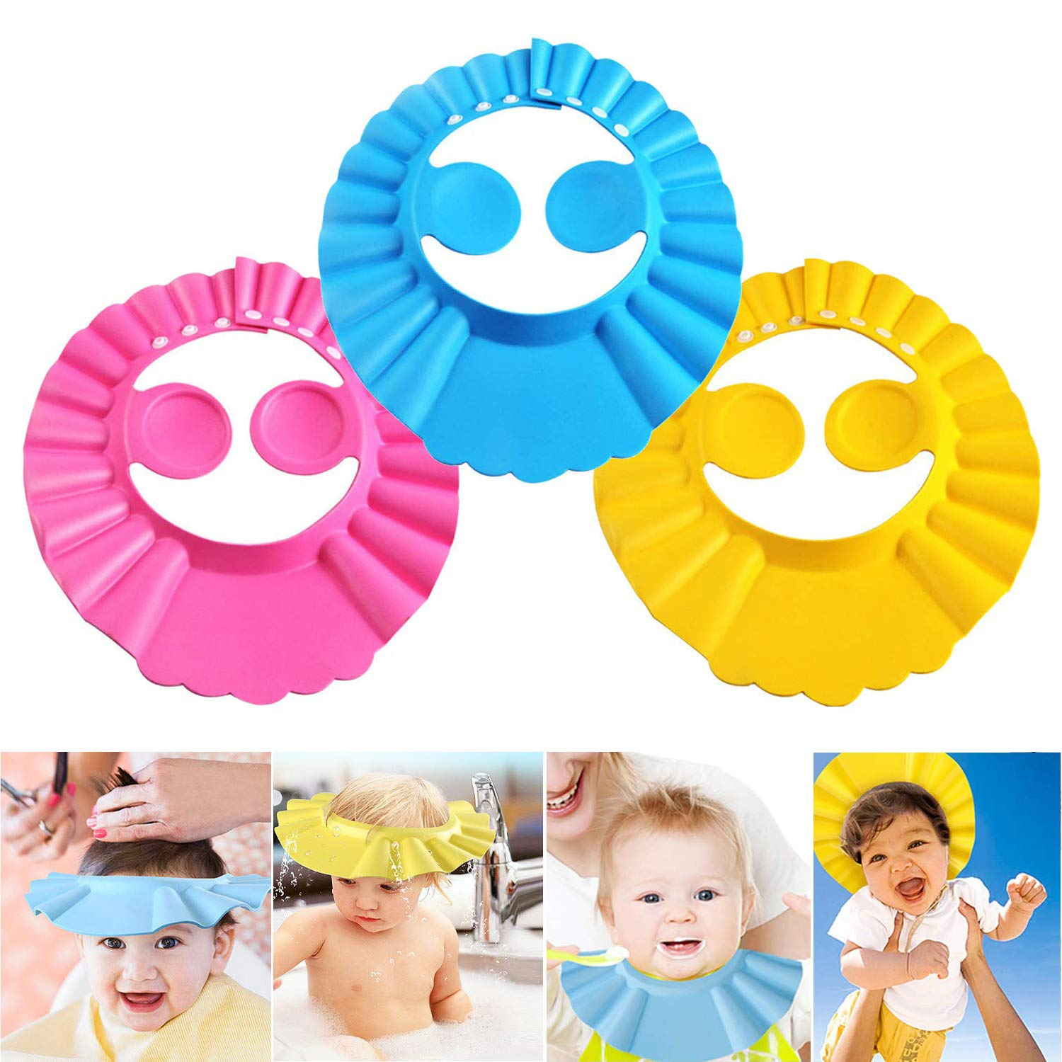 Baby Shower Cap Bathing Cap, Soft Adjustable Visor Hat for Shampoo Shower, Bathing Shampoo Hat with Ear Protection, Shower Cap Protect Your Baby Eyes for Toddler, Baby, Kids, Children