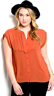 Women Top Plus Size Solid Rust Cap Sleeves Mandarin Collar Sheer Button Pleated