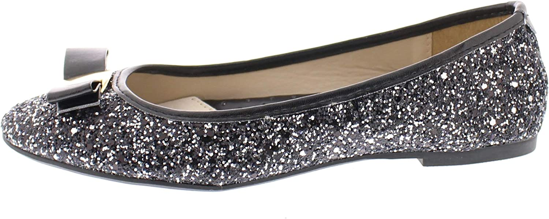 Gold Toe Womens Tempest Metallic Sequin Sparkle Ballet Flat Slipon Dress Pump Bow Ballerina Skimmer Shoe