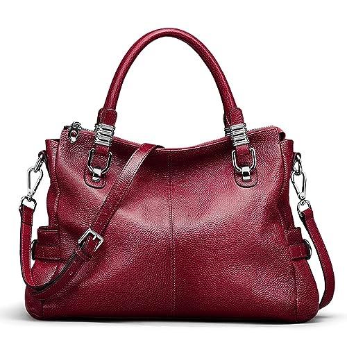 7298c0bd5cfb S-ZONE Women s Vintage Genuine Leather Handbag Shoulder Bag Satchel Tote Bag  Purse Crossbody Bag