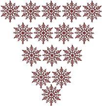 CLISPEED 12Pcs Christmas Hanging Snowflake Acrylic Glitter Snowflake Ornament Christmas Tree Embelishment Window Fireplace...