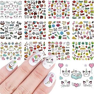 12 Sheets Cute Nail Art Stickers Water Transfer Nail Decals Summer Sweet Cartoon Nail Stickers Classic Unicorn Flamingo Ic...