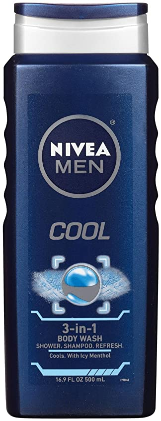 アナロジー本土実験Nivea, 3-in-1 Body Wash, Men, Cool, 16.9 fl oz (500 ml)