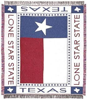 "Texas Lone Star Flag Afghan Throw Blanket 48"" x 60"" SKU 200-TLS"