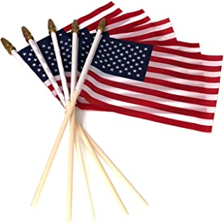 Best Pack of 100, Small US American Handheld Flags, 4x6 Inch Golden Spear Tip, Stick Flags by Crystal Lemon Review