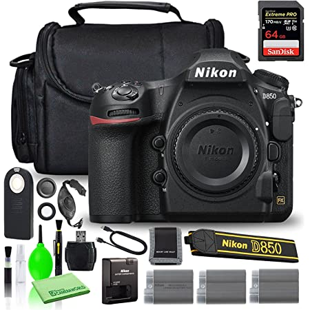 Nikon D850 DSLR Digital Camera Body Only (1585) USA Model Bundle with SanDisk 64GB Extreme PRO SD Card + (2) Extra Compatible Batteries + Large Camera Bag + Wireless Remote + More