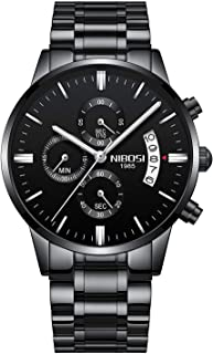 NIBOSI Men's Watches Luxury Fashion Casual Dress Chronograph Waterproof Military Quartz Wristwatches for Men Stainless Steel Band Black Color