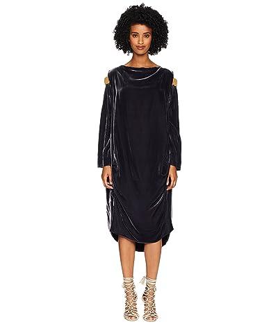 Vivienne Westwood Fatima Cold Shoulder Long Sleeve Velvet Dress (Grey) Women