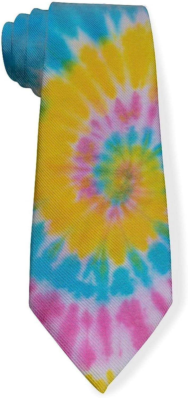 Colorful Abstract Retro Psychedelic Tie Dye Swirl Mens Classic Color Slim Tie, Men's Neckties, Fashion Boys Cravats