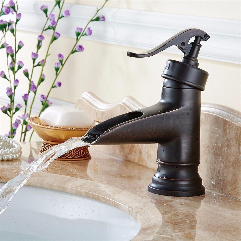 Gyps Faucet Basin Mixer Tap Waterfall Faucet Antique Bathroom Mixer Bar Mixer Shower Set Tap antique bathroom faucet Retro-Copper Black bathroom faucet basin faucet waterfall faucet mini low, the bath