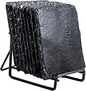 9-Pack Drink Slate Coaster Set with Holder - Handmade Square Slate Stone Coaster for Bar Kitchen Home Decor, Black, 3.8 In...