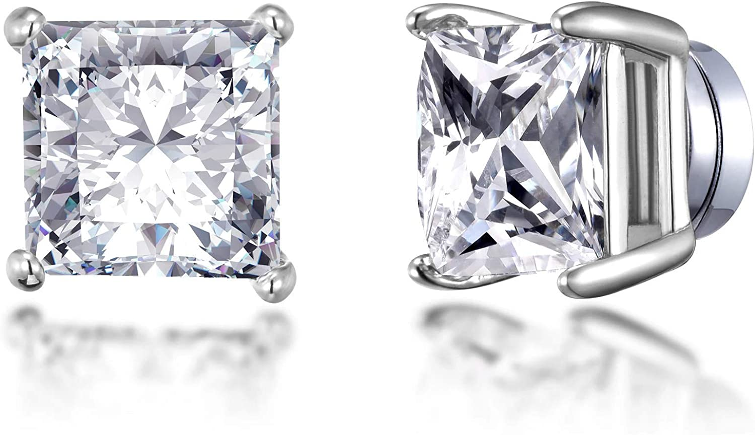 Silver Fort Worth Mall Square Magnetic Clip Max 68% OFF On with Earrings Created Austri Stud