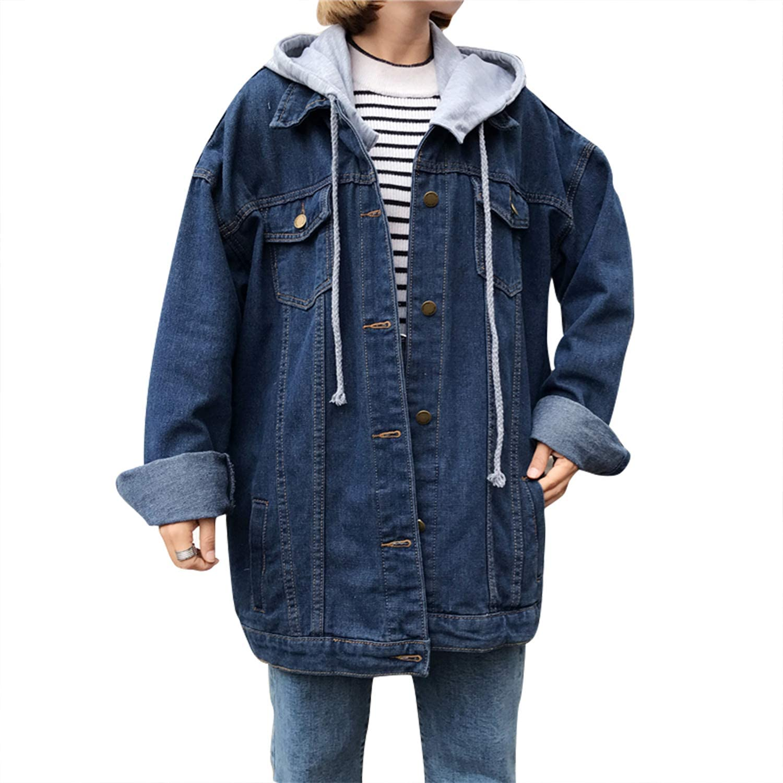 Women's Oversized Gifts Denim Jacket With Hood Boyfriend Chicago Mall Je Distressed