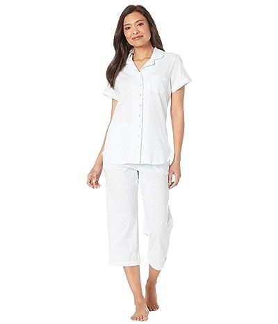 Eileen West Cotton Jersey Knit Short Sleeve Notch Collar Capris Pajama Set (White Ground/Mono Scroll) Women