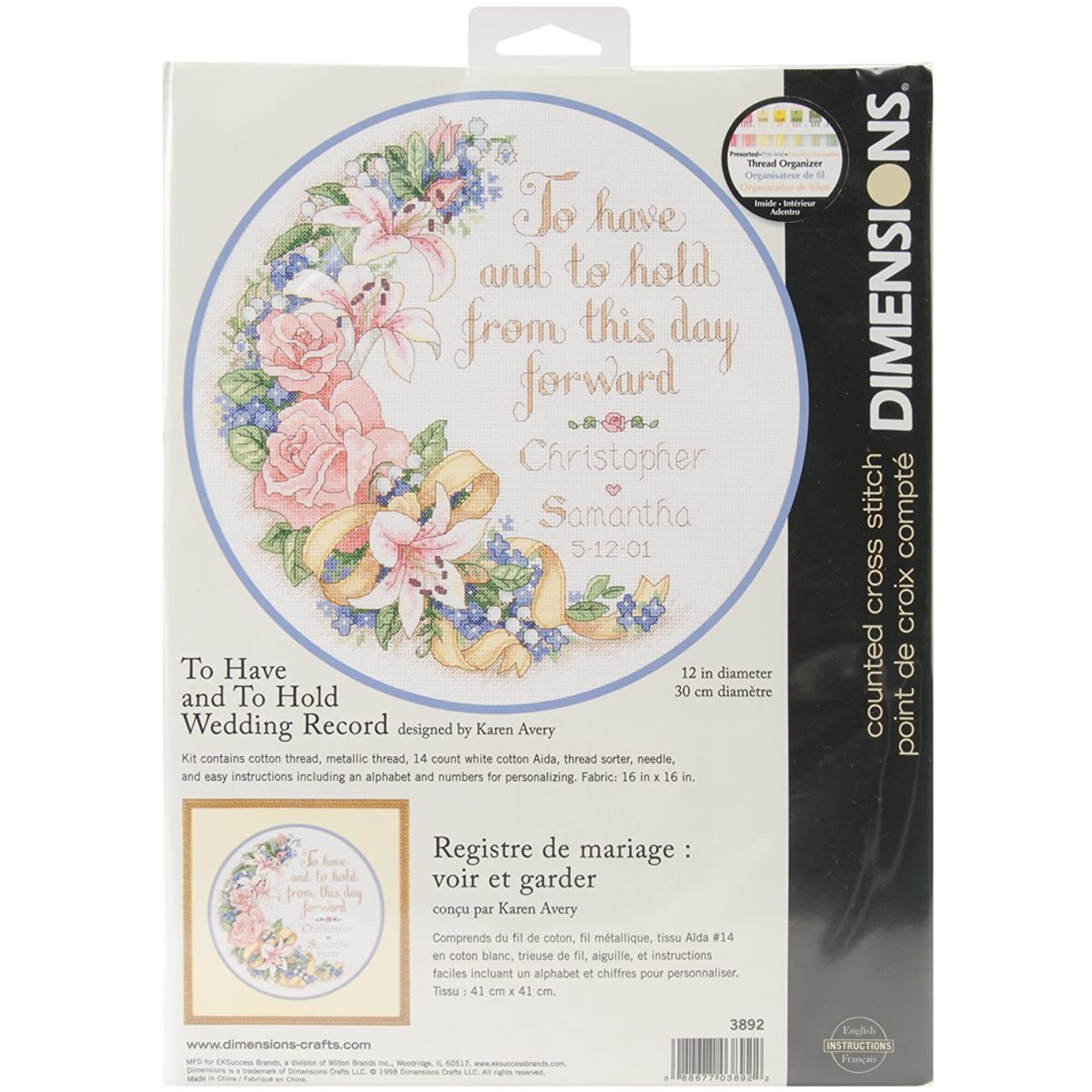 Dimensions To Have & To Hold Wedding Record Counted Cross Stitch Kit: 12