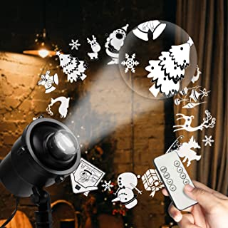 Laser Christmas Lights, Brightown Decorative Light Projector 8 Green Patterns Red Star Show Waterproof LED Lights with RF Wireless Remote for Outdoor Halloween Holiday Party