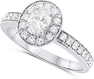 18k White Gold Oval Natural Diamond Halo Engagement Ring For Women
